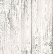 NEW 2107 | Modern Metallic 3D Effect Wood Panel Wallpaper White/Silver FD41957