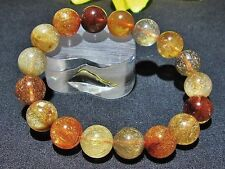 12.5MM 4A Natural Titin Golden Rutilated Quartz Round Beads Bracelet BL6754