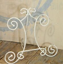 Display Stand/Metal Easel/White/Scroll/Plate/Picture/Holder/Shabby Cottage Chic