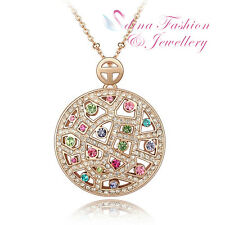 18K Rose Gold Plated Genuine Swarovski Crystals Multicolored Moon Necklace