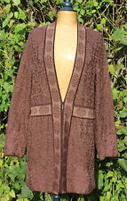 PERUVIAN CONNECTION Pima Cotton Long Jacquard Cardigan, Size XL