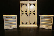 BEAUTIFUL ROOM SET 1/12th DOLLS HOUSE FURNITURE BEDROOM WARDROBE & BOOK SHELVES