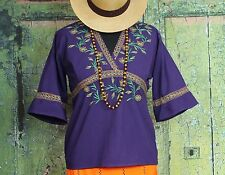 Aubergine Embroidered blouse Tlahuitoltepec Mexico Mixe Indians Hippie Boho Chic