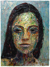 ORIGINAL PRINT OF OIL PAINTING FOLK ART OUTSIDER PORTRAIT EXPRESSIONISM GALLERY