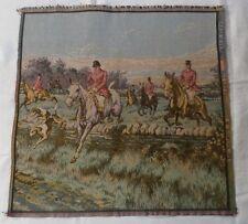 """Vintage Goblys French Tapestry - Fox Hunt Scene - Multi-Color - 20""""x20"""""""