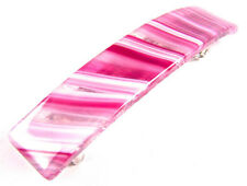 "Hair BARRETTE Fused Stained GLASS 2.5"" 65mm Clear Pink White Zebra Striped"