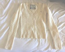NWT Abercrombie Fitch V Neck Wool Cashmere Ivory cable Sweater Medium small 2 4