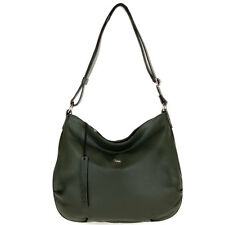 Bruno Rossi Italian Made Genuine Moss Green Pebbled Leather Large Hobo Bag