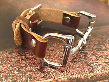 Brown Soft Leather Women Leather Bracelet with Silvery Horse Bit Buckle