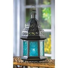 "large 12"" BLUE Moroccan shabby Candle holder Lantern Lamp outdoor terrace patio"
