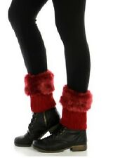 Red Faux Fur Leg Warmer