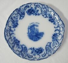 "Wood & Son 10"" Flow Blue Plate Blarney Castle Trilby Flowers Scroll Dinner"