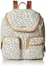 New Calvin Klein Signature Backpack White Hudson Almond Monogram CK Bag $260