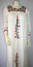 Vintage 70s Mexican Dress Embroidered Boho Hippie Caftan Wedding Floral Oaxacan