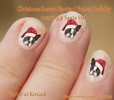 BOSTON TERRIER, FRENCH BULLDOG Christmas Santa Hat  24 Dog Nail Art Stickers