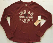 NEW LUCKY BRAND Indian Motor Center Graphic L/S Raglan Red T Shirt Large NWT