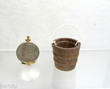 Dollhouse Miniature or Fairy Garden Wood Bucket or Pail with Rope Handle