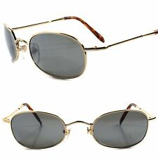 Deadstock Classic Genuine Vintage 80s 90s Style Gold Rectangular Oval Sunglasses