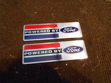 POWERED BY FORD FRONT FENDER TRUNK DECKLID VALVE COVER EMBLEMS PLAQUES NEW PAIR