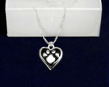 Sterling Silver-Plated Paw in Black Heart Necklace- SALE BENEFITS RESCUE CHARITY
