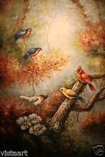 """High Quality Oil Painting on Stretched Canvas 24x36"""" Exquisite Birds on Branches"""