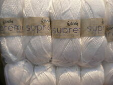 WENDY SUPREME CHUNKY 100% MERCERISED COTTON WHITE 500G CROCHET KNITTING DYE 1420