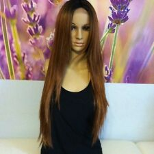 Ombre dark roots to chocolate brown   Lace  wig 24' heat resistant