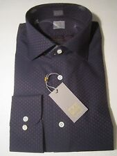 NWT GOLD label Ike Behar New York Dark Blue LUXURY Mens Dress Shirt 16 1/2 LS 37