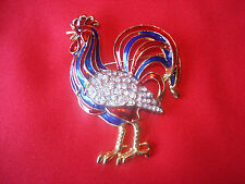 VERY UNIQUE ENAMELED & GOLD WITH CRYSTAL RHINESTONE ROOSTER PIN / BROOCH - NICE!