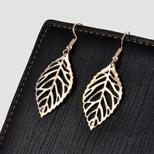 Bohemian Chic Elegant Jewelry Womens Ear Hook Hollow Leaves Dangle Earrings Gift