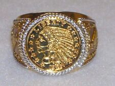 Bradford Exchange Mint Engraved $5 Indian Head Proof Coin Men's Ring 24K GP