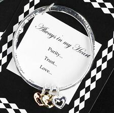 """Always In My Heart"" Engraved 3 Tri-Color Heart Charm Bracelet Bangle Cuff"