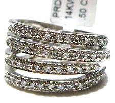DESIGNER 14K WHITE GOLD HEAVY WIDE 1/2CT DIAMOND WOMENS RING BAND SIZE 7