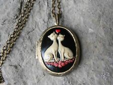 CAT (S) IN LOVE HEART CAMEO LOCKET (hand painted) -ANTIQUE BRONZE, VINTAGE LOOK
