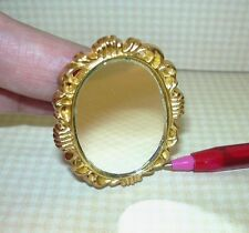 Miniature Oval Mirror with Ornate Gold Frame: DOLLHOUSE Miniatures 1/12 Scale