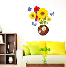 Wall Stickers Sunflower Wall Decals in Flower Pot Bouquet Fresh Design for Home