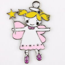 12pcs 145267 Plated Rhodium Enamel Colorful Magic Angel Charms Alloy Pendants