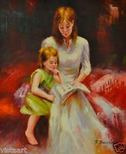 "Oil Painting On Stretched Canvas 20""x 24""-Mother & Daughter Reading FIGURES"