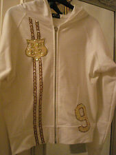 LADIES IVORY COLOUR HOODIE WITH SEQUENCE DETAIL - SIZE SMALL