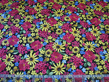 3 Yards Quilt Cotton Fabric - Quilting Treasures Floral Etchings Flowers Packed