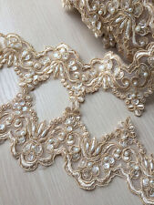 """Champagne Alencon Lace Trim Pearl Beaded Sequined Wedding 3.54"""" Width 1 Yard"""