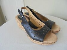 B.O.C BORN CONCEPT BLACK LEATHER CUT-OUT SLINGBACK CORK WEDGE HEESL 39 8 MINT