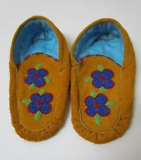 DAZZLING NATIVE AMERICAN MOCCASINS, 9 INCHES WITH SUPERB BEADING
