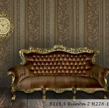 vinyl Wallpaper wallcovering brown silver gold victorian textured stripe vintage