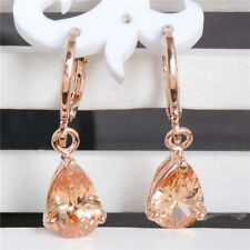 SWAROVSKI  RHINESTONES 18 K  YELLOW GOLD PLATED  CHAMPAGNE  ZIRCON  CZ  EARRINGS