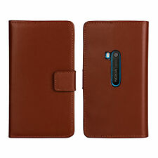 Brown Genuine Leather Business Wallet Card Case Cover Stand for Nokia Lumia 920