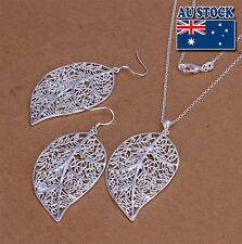 Wholesale Solid 925Sterling Silver SP Leaf Charm Lady Earrings/Necklace Set
