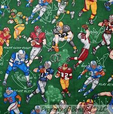 BonEful Fabric FQ Cotton Quilt Green Grass NFL FOOTBALL Sport Boy Coach Uniform