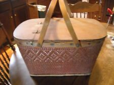 Vintage red weave picnic basket with wood handles