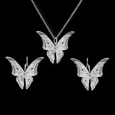 Women Silver Plated Butterfly Pendant Necklace And Hook Earring Set Gift